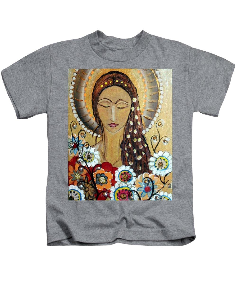 Art Kids T-Shirt featuring the painting My Angel Modern Icon by Luiza Vizoli