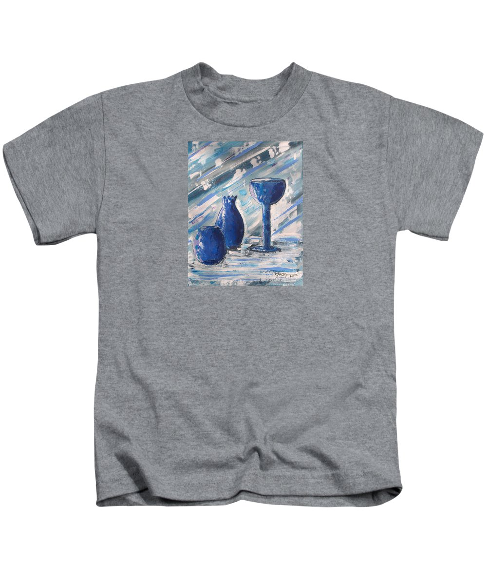 Vases Kids T-Shirt featuring the painting My Blue Vases by J R Seymour