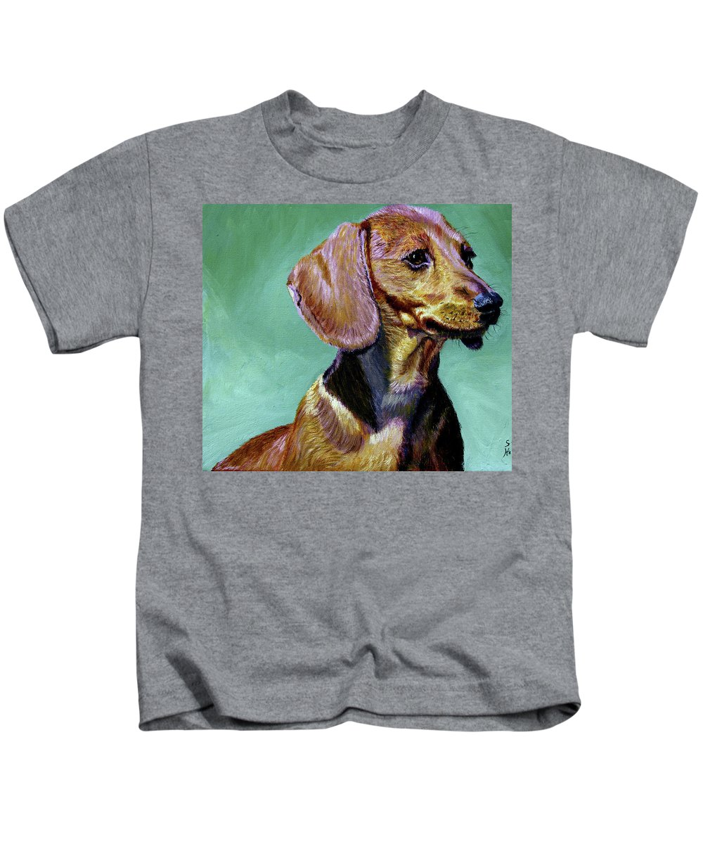 Daschund Kids T-Shirt featuring the painting My Daschund by Stan Hamilton