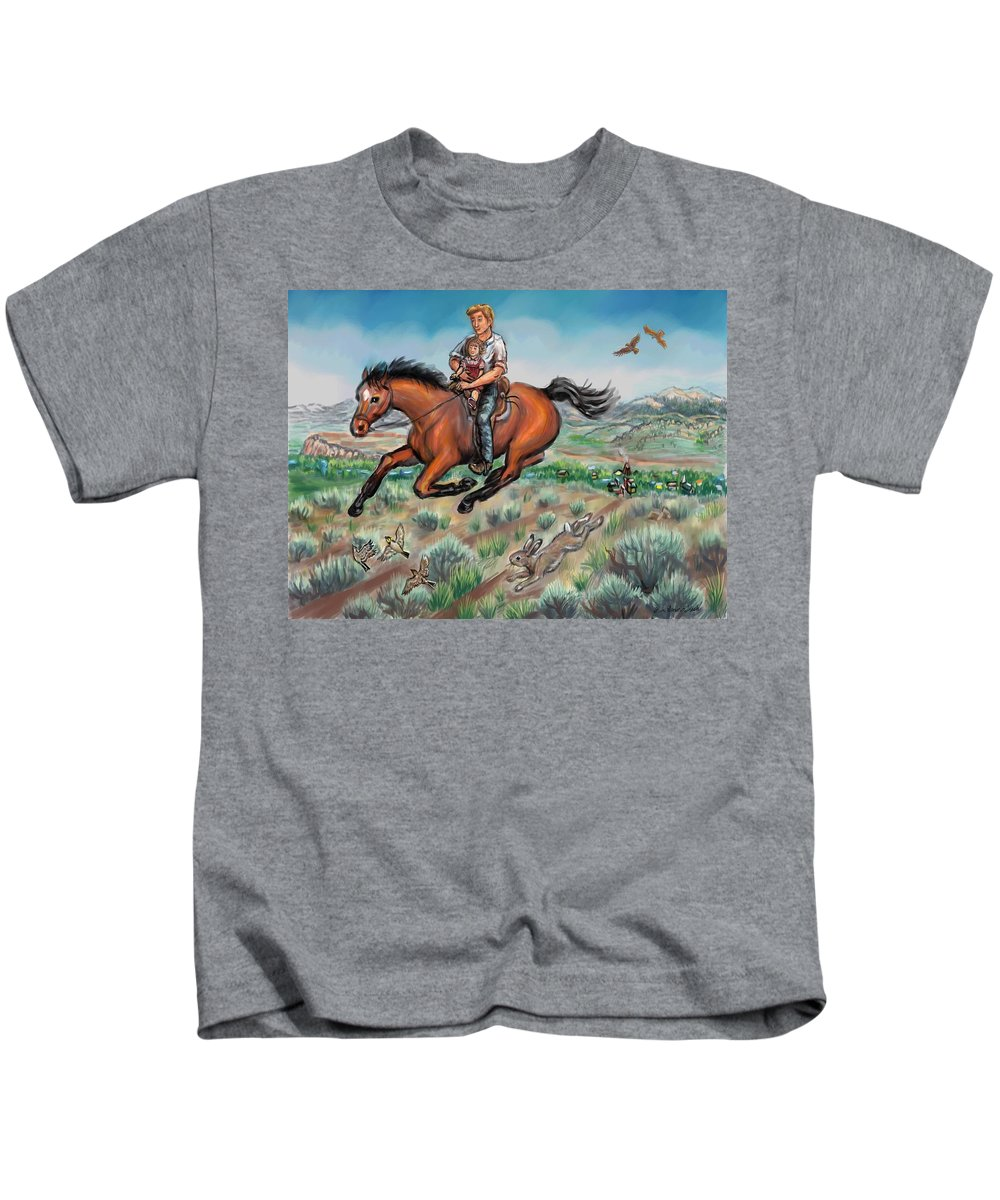 Horse Kids T-Shirt featuring the drawing My First Horseback Ride by Dawn Senior-Trask