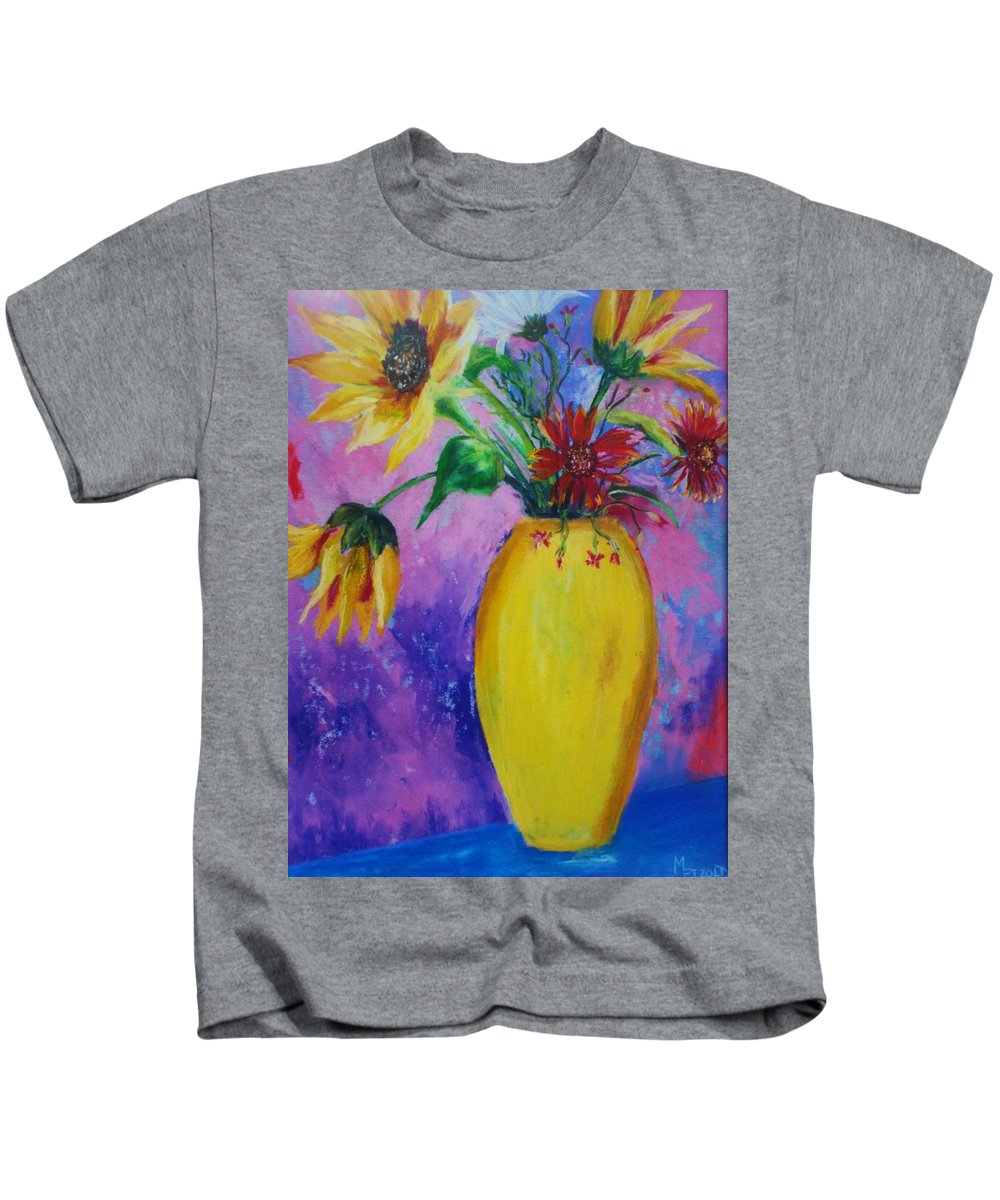 Sunflowers Kids T-Shirt featuring the painting My Flowers by Melinda Etzold
