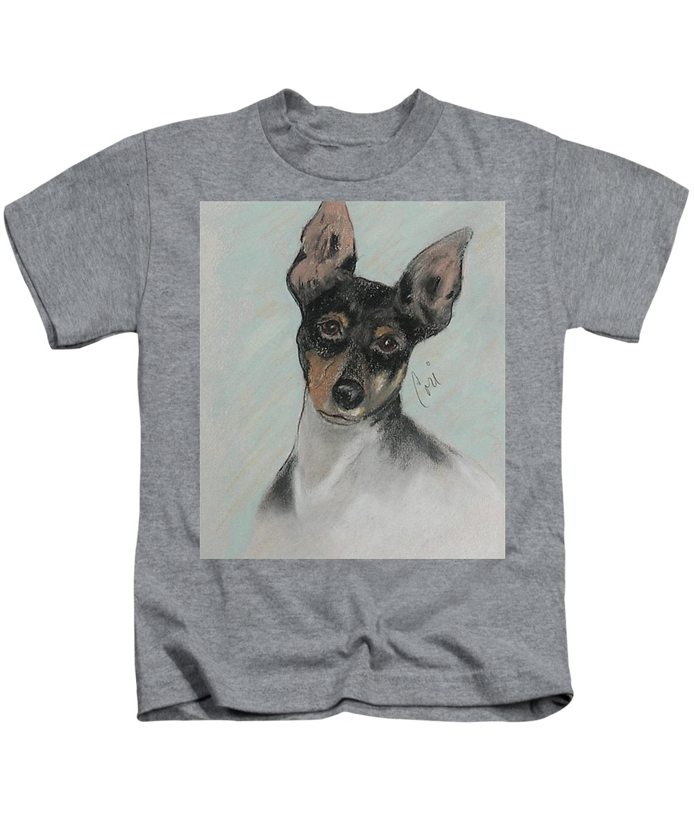 Toy Fox Terrier Kids T-Shirt featuring the drawing My Oh My by Cori Solomon