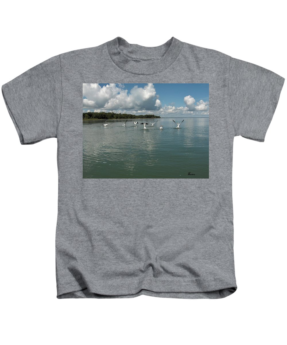Pelicans Lake Water Trees Shore Beach Clouds Birds Water Foul Kids T-Shirt featuring the photograph My Pelicans by Andrea Lawrence