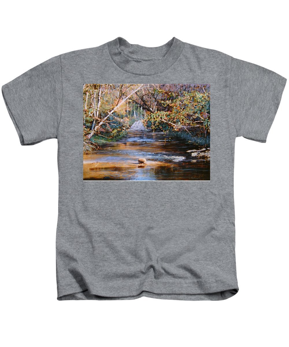 Peace Project Kids T-Shirt featuring the painting My Secret Place by Ben Kiger