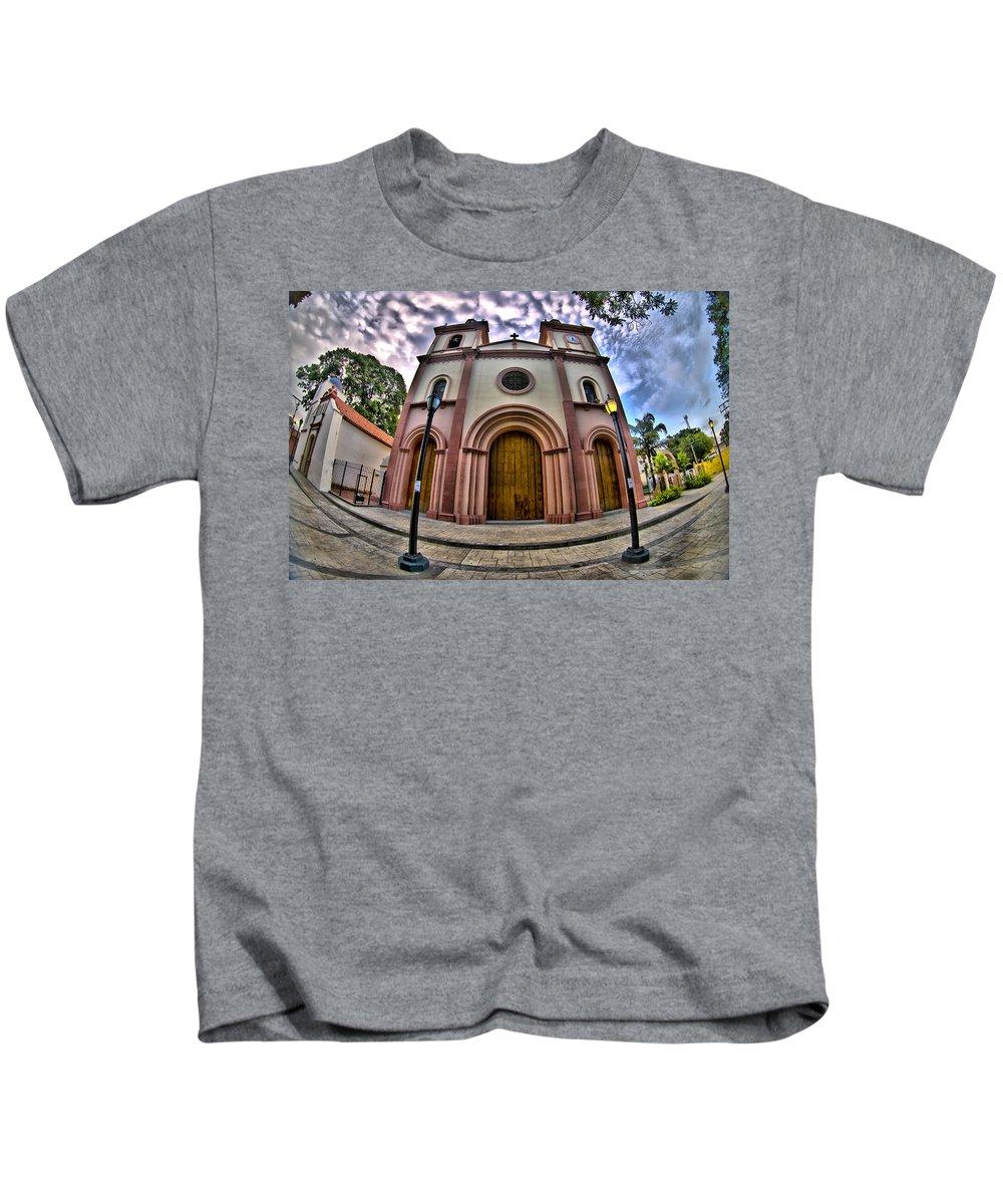 Belomo Kids T-Shirt featuring the photograph Naguanagua Church Smile Jesus by Galeria Trompiz