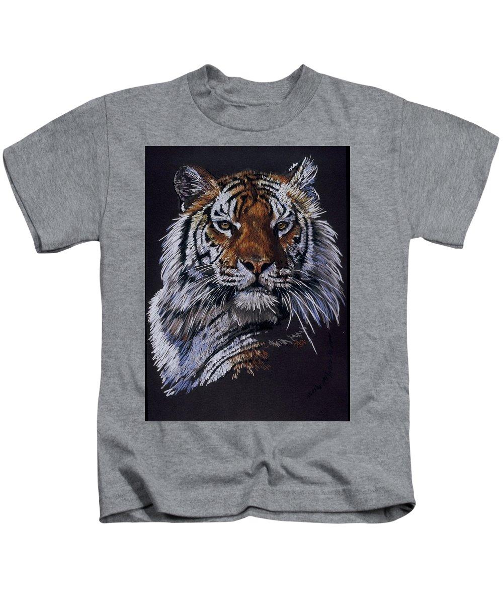 Tiger Kids T-Shirt featuring the drawing Nakita by Barbara Keith