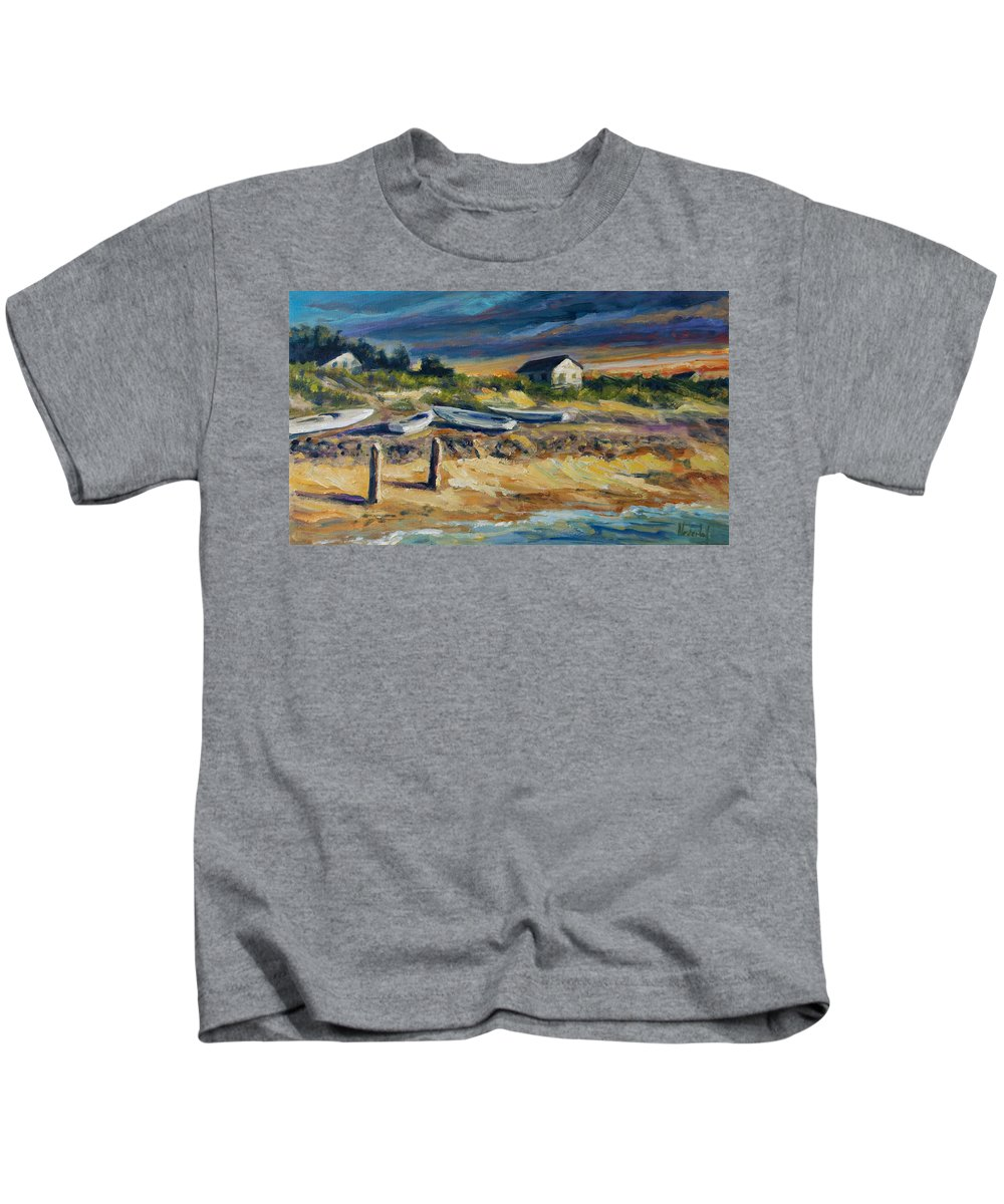 Stormy Clouds Kids T-Shirt featuring the painting Nantucket by Rick Nederlof