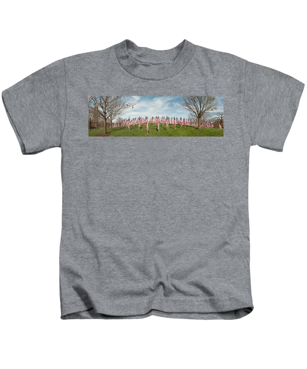 Naperville Il Kids T-Shirt featuring the photograph Naperville Healing Field of Honor at Rotary Hill by Michael Bessler