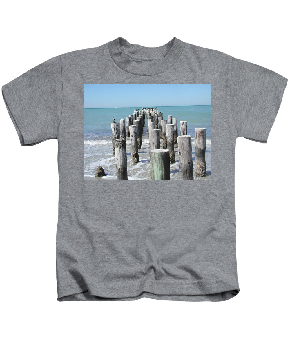 Ocean Kids T-Shirt featuring the photograph Naples Pier by Tom Reynen