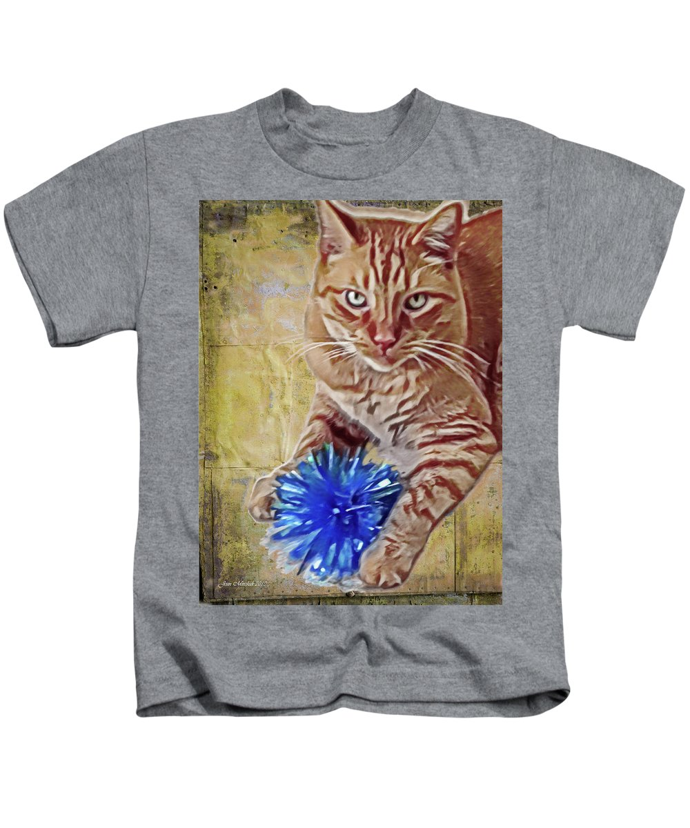 Animal Kids T-Shirt featuring the digital art Napoleon And The Bow by Joan Minchak