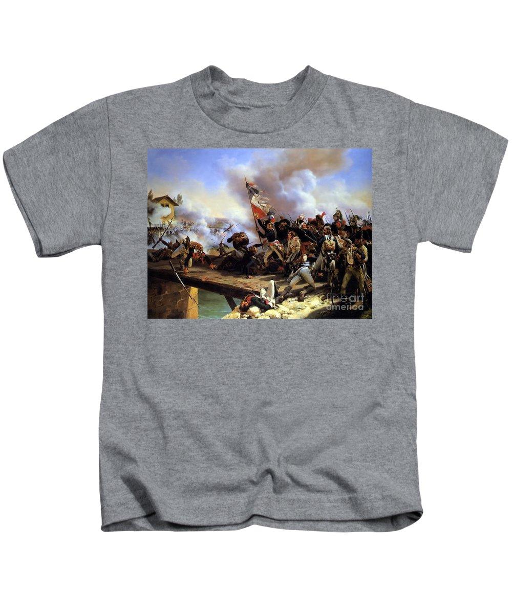 Horace Vernet - Napoleon Bonaparte Leading His Troops Over The Bridge Of Arcole 1826 Kids T-Shirt featuring the painting Napoleon Bonaparte Leading His Troops Over The Bridge by MotionAge Designs