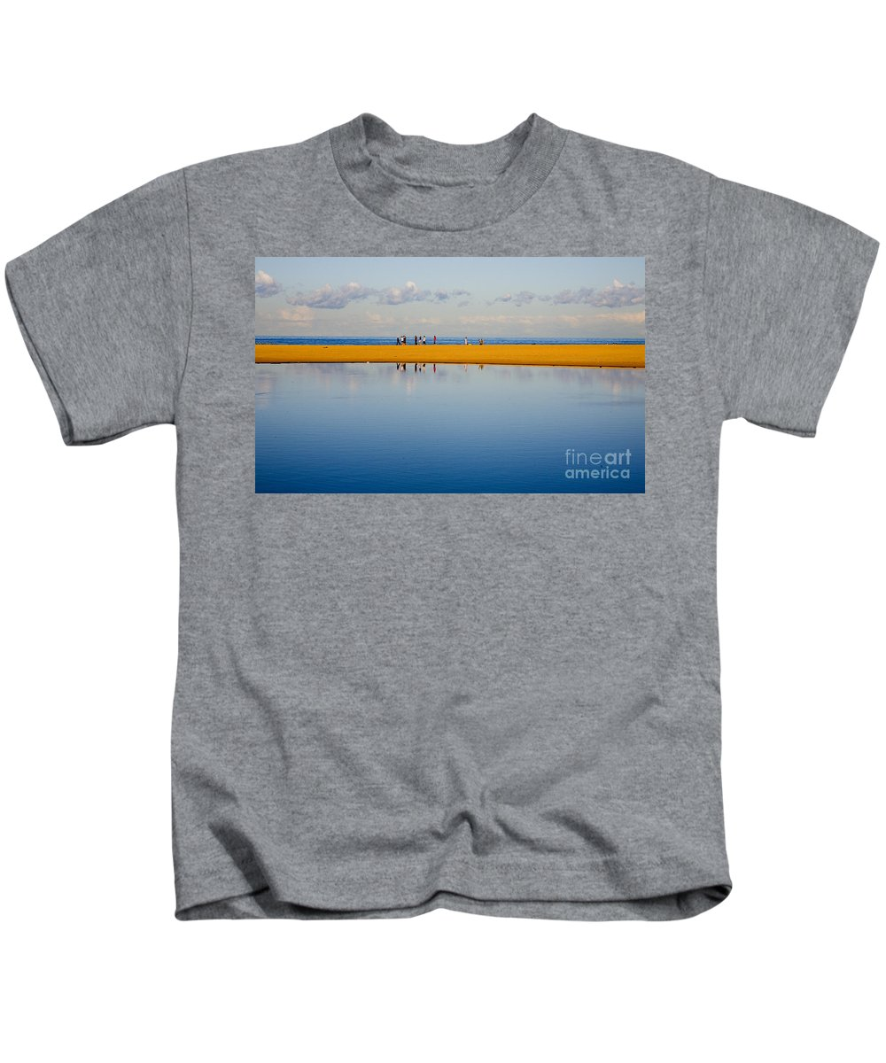 Dunes Lowry Sand Sky Reflection Sun Lifestyle Narrabeen Australia Kids T-Shirt featuring the photograph Narrabeen dunes by Sheila Smart Fine Art Photography