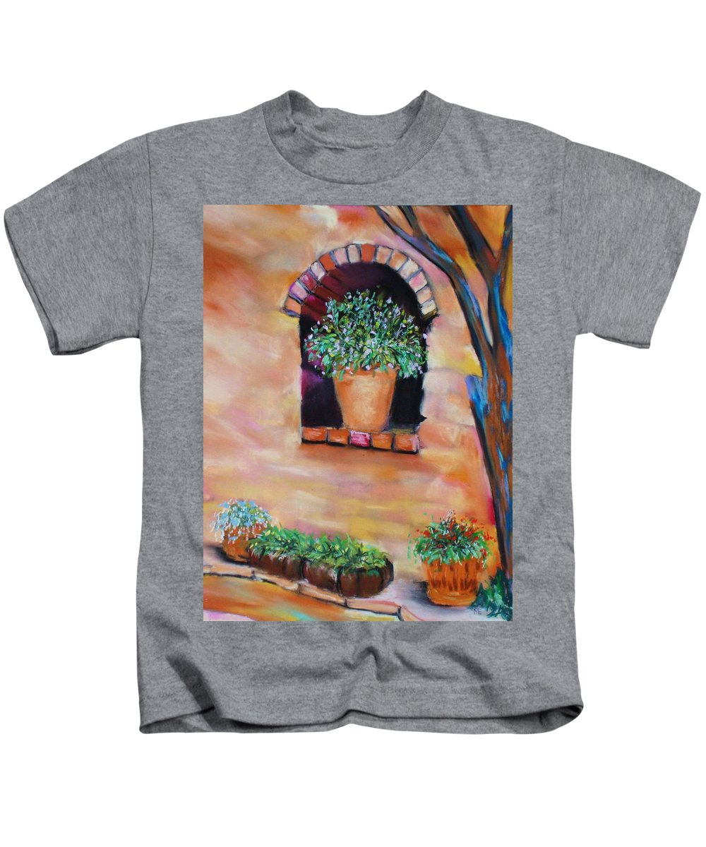 Courtyard Kids T-Shirt featuring the painting Nash's Courtyard by Melinda Etzold