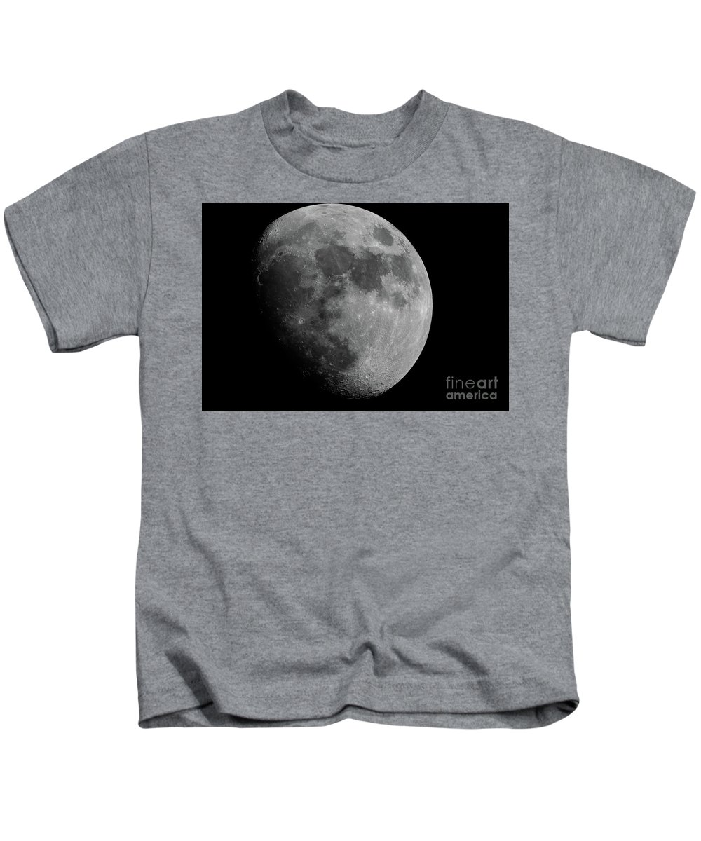 Moon Kids T-Shirt featuring the photograph Natural Satellite Bw by Michael Ver Sprill