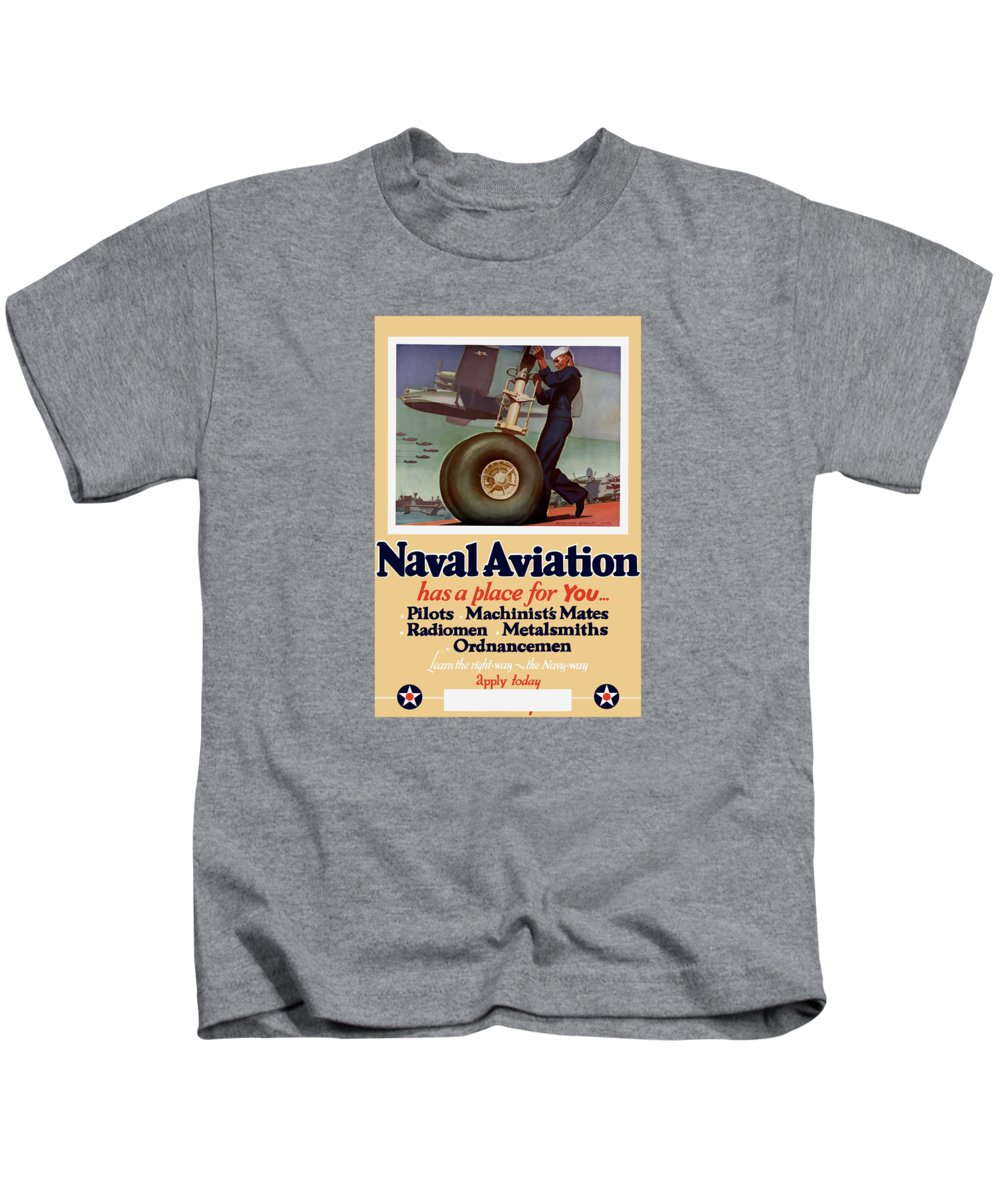 Navy Kids T-Shirt featuring the painting Naval Aviation Has A Place For You by War Is Hell Store