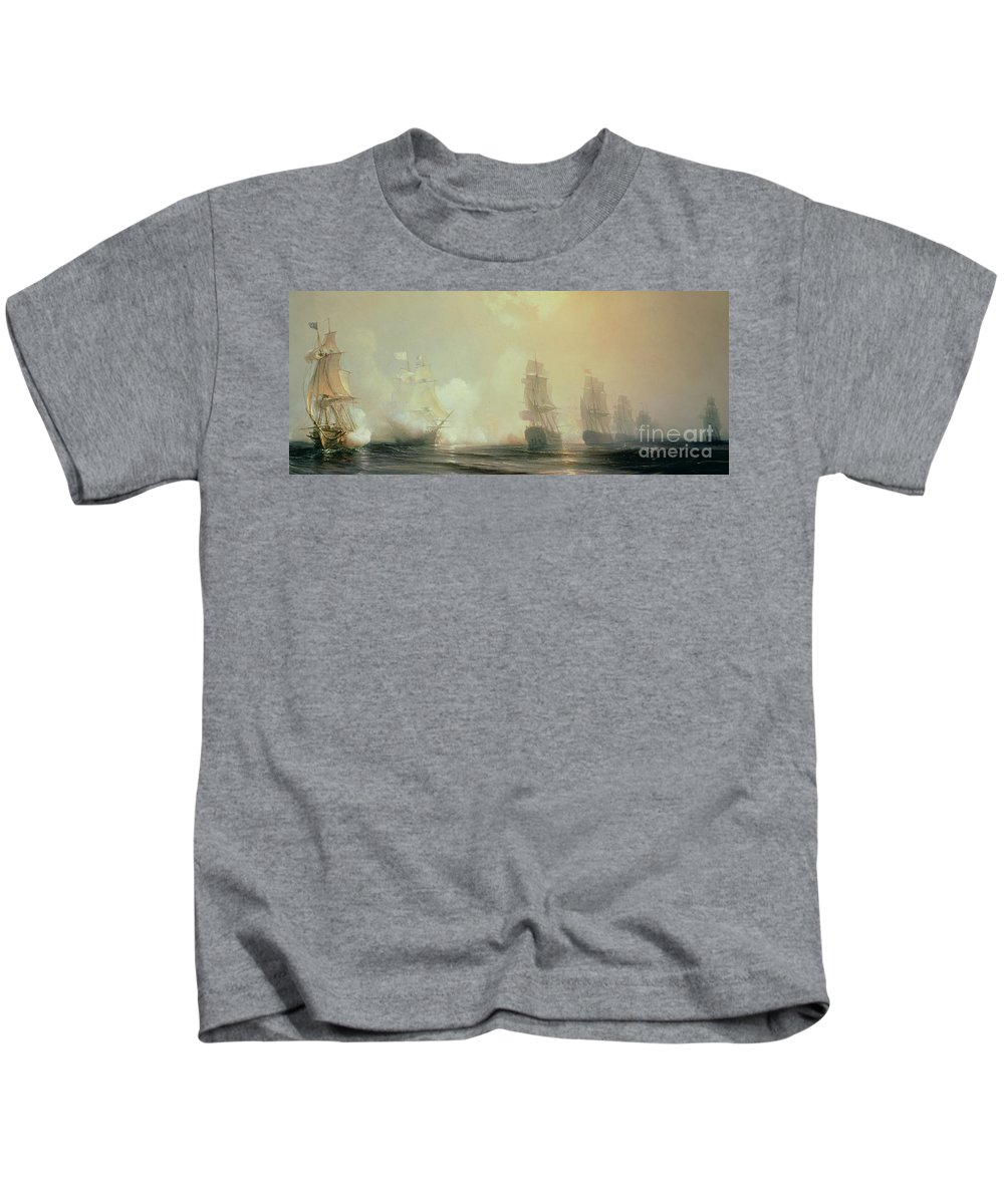 Boat Kids T-Shirt featuring the painting Naval Battle In Chesapeake Bay by Jean Antoine Theodore Gudin