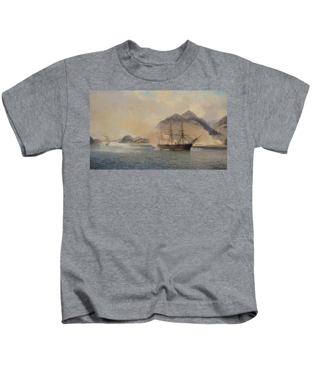 Naval Kids T-Shirt featuring the painting Naval Battle Of The Strait Of Shimonoseki by Jean Baptiste Henri Durand Brager