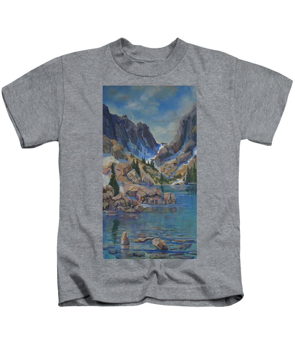 Hayden Spires Kids T-Shirt featuring the painting Near Hayden Spires by Heather Coen