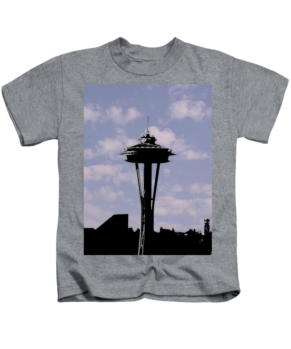 Seattle Kids T-Shirt featuring the digital art Needle In The Clouds by Tim Allen