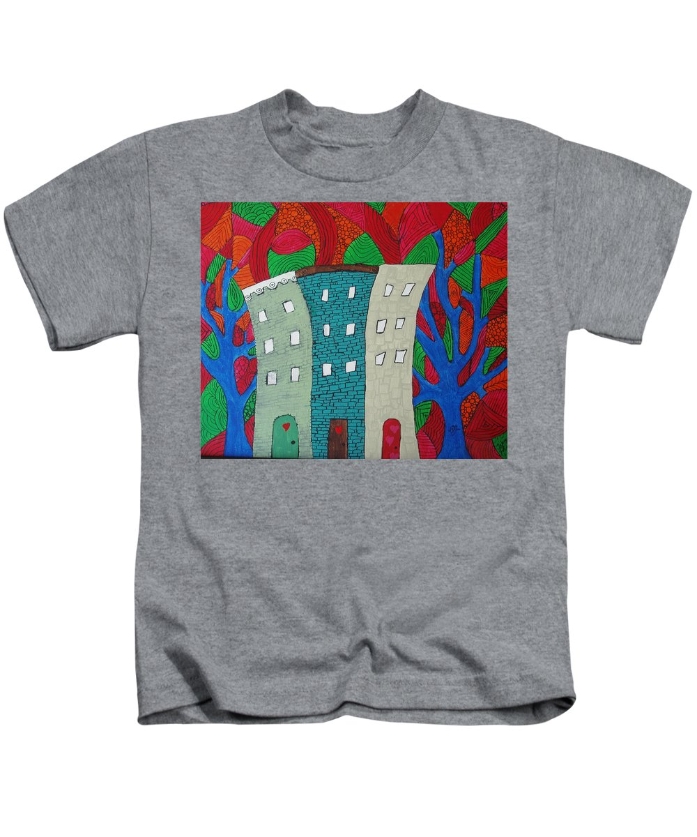 Houses Kids T-Shirt featuring the painting Neighbors by Wayne Potrafka