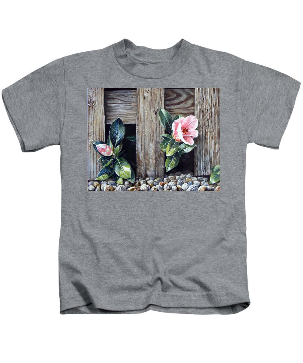 Flower Pink Acrylics Neighbours Fence Wood Leaves Kids T-Shirt featuring the painting Neighbours by Arie Van der Wijst