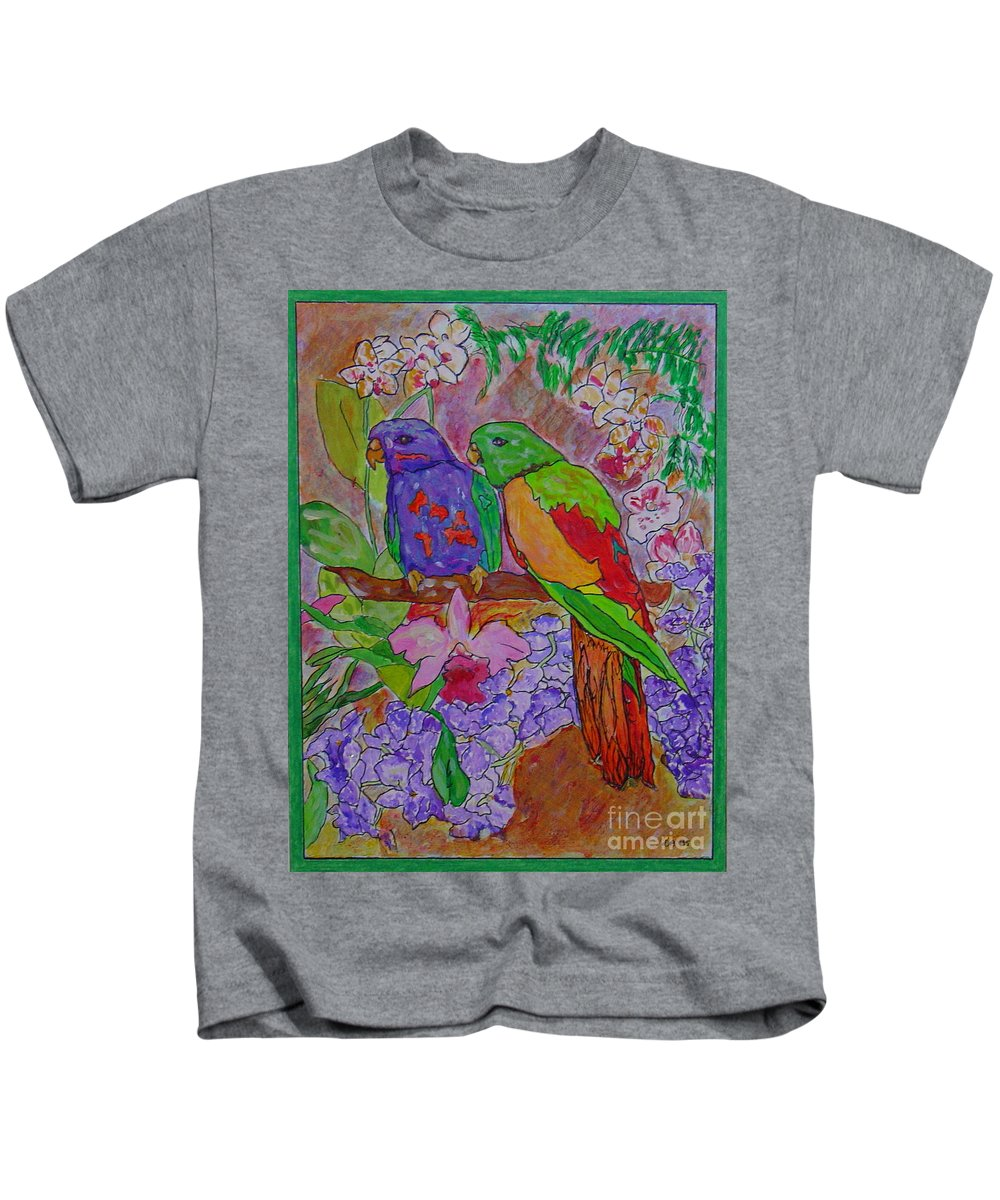 Tropical Pair Birds Parrots Original Illustration Leilaatkinson Kids T-Shirt featuring the painting Nesting by Leila Atkinson