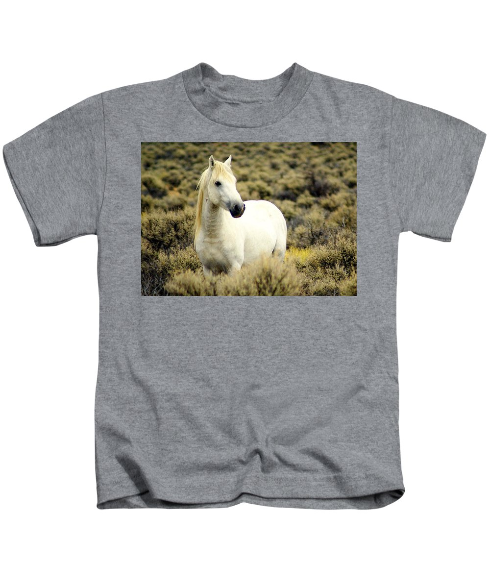 Horses Kids T-Shirt featuring the photograph Nevada Wild Horses 3 by Marty Koch