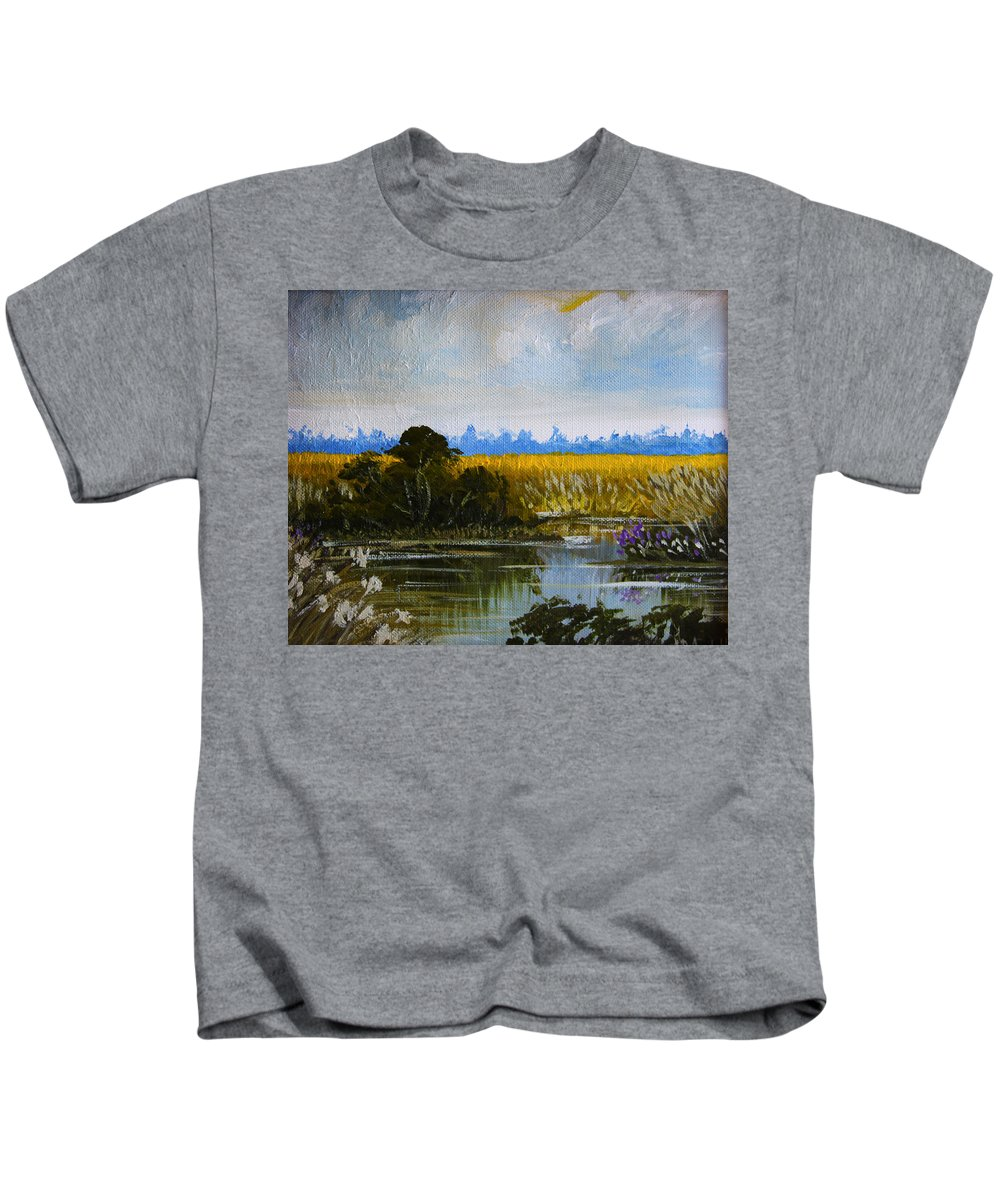 New Jersey Kids T-Shirt featuring the painting New Jersey Marsh by Karon Melillo DeVega