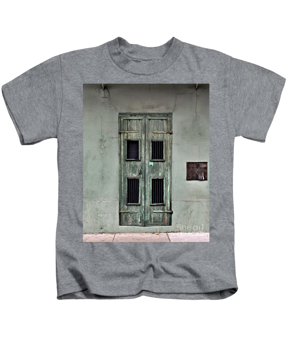 Door Kids T-Shirt featuring the photograph New Orleans Green Doors by Perry Webster