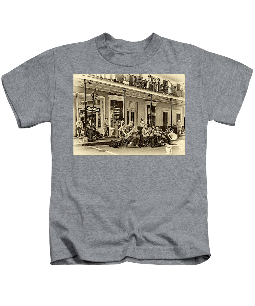 French Quarter Kids T-Shirt featuring the photograph New Orleans Jazz 2 - Sepia by Steve Harrington