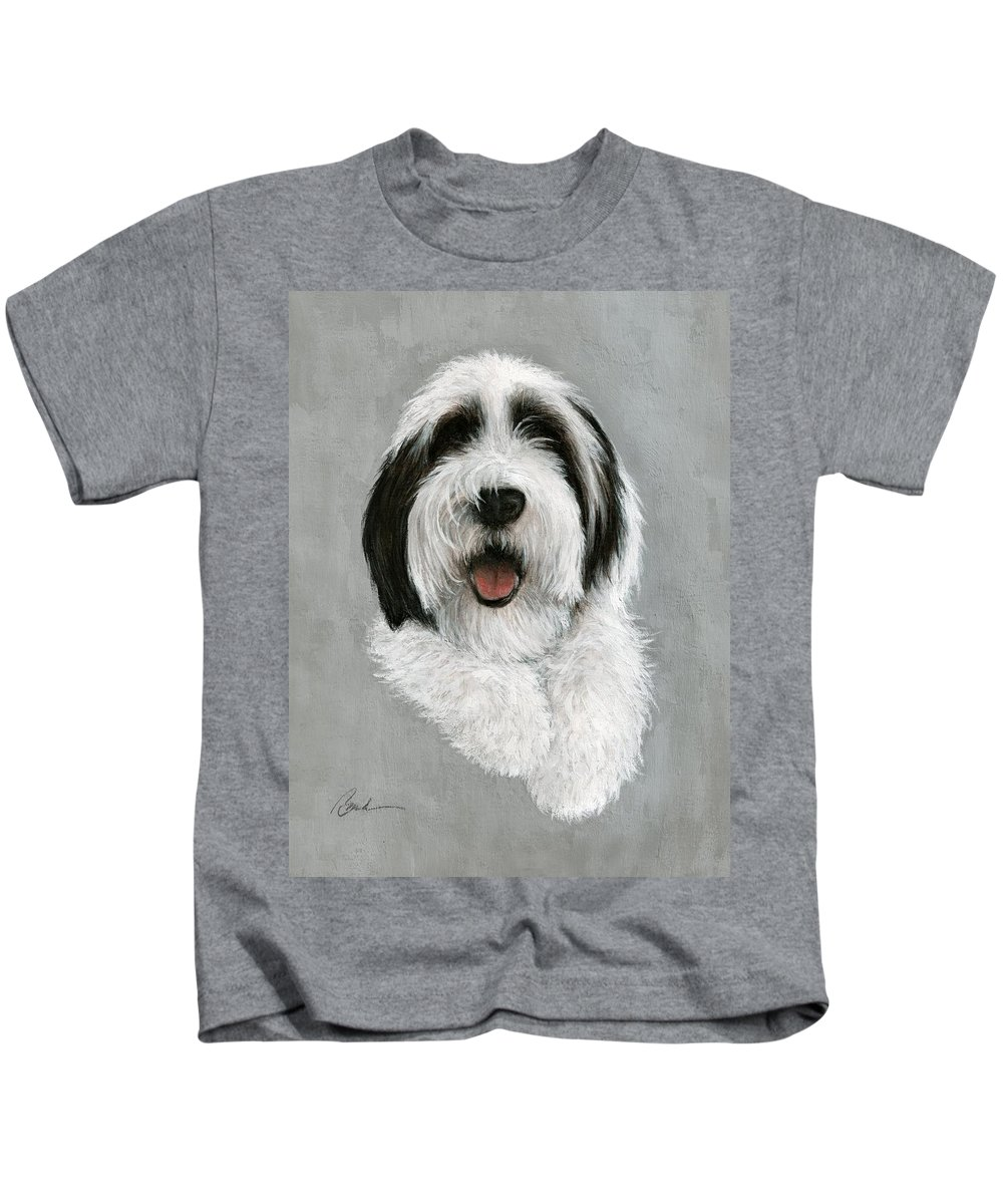 Dog Art Bruce Lennon Art Kids T-Shirt featuring the painting New Pup by Bruce Lennon