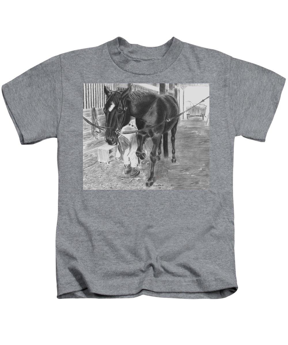 Horse Kids T-Shirt featuring the drawing New Shoes by Quwatha Valentine