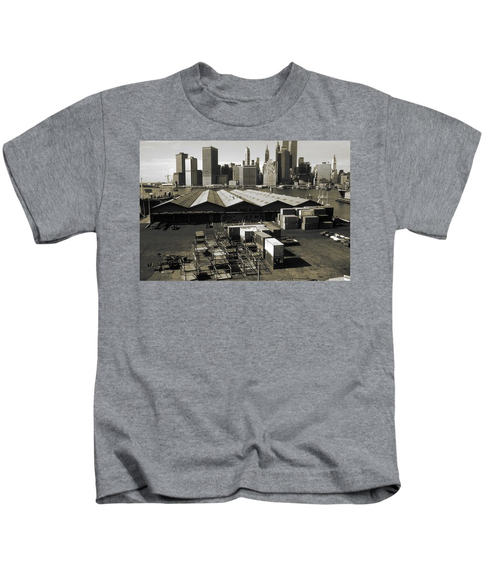 New+york Kids T-Shirt featuring the photograph Old New York Harbor Skyline by Peter Potter
