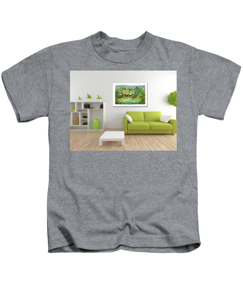 Palm Trees Kids T-Shirt featuring the photograph Home Decor With Tropical Palms Digital Painting by Carla Parris