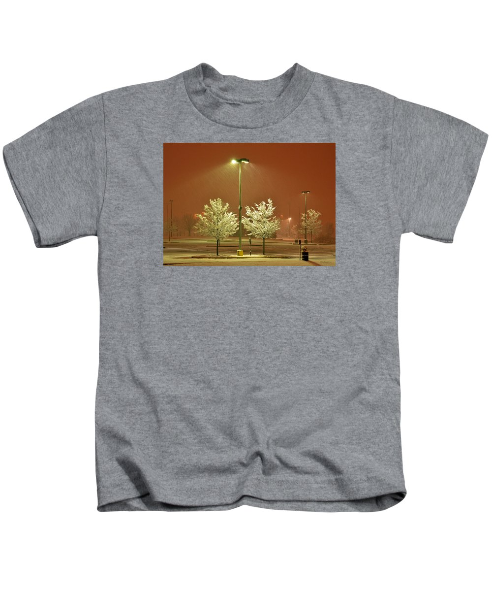 Winter Kids T-Shirt featuring the photograph Night Blizzard 1 by Iliyan Bozhanov