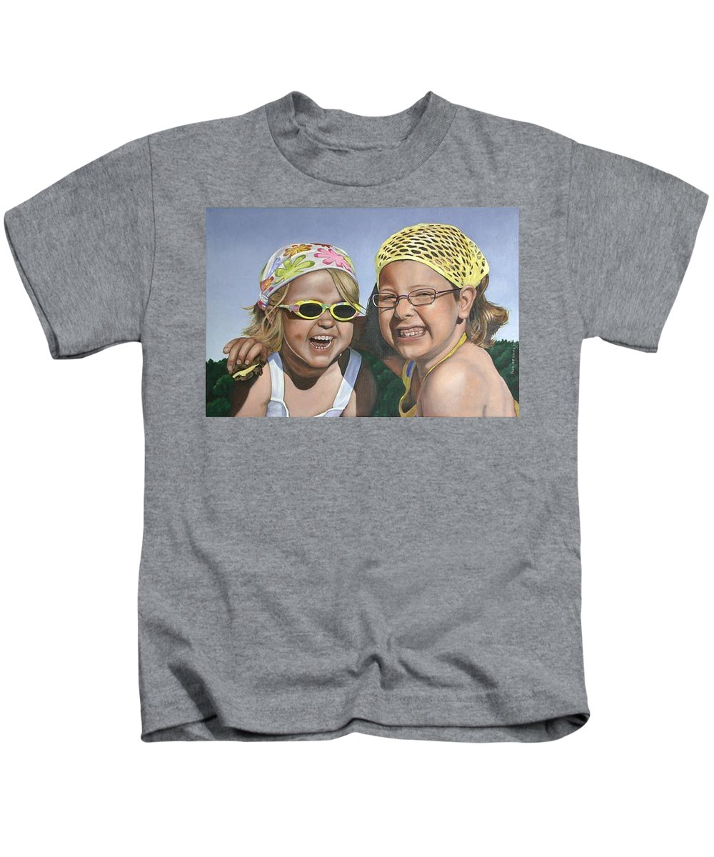 Portrait Kids T-Shirt featuring the painting Nina And Francis by Rob De Vries