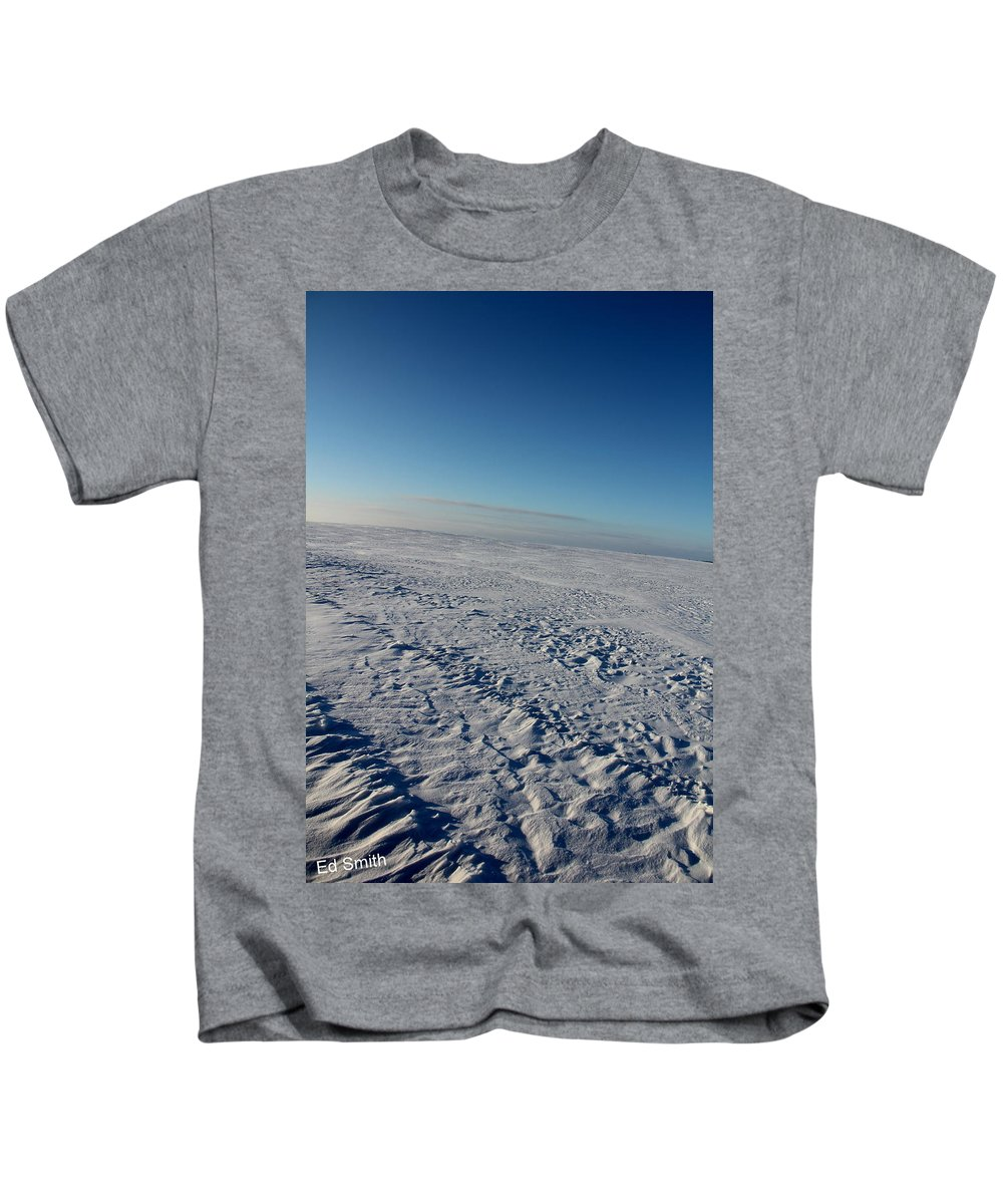 No Mans Land Kids T-Shirt featuring the photograph No Mans Land by Ed Smith