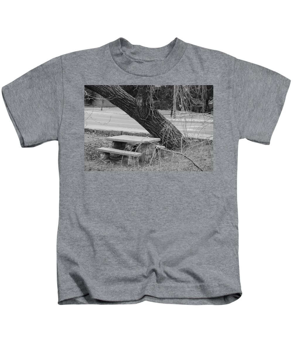 Trees Kids T-Shirt featuring the photograph No One Sits Here In Black And White by Rob Hans