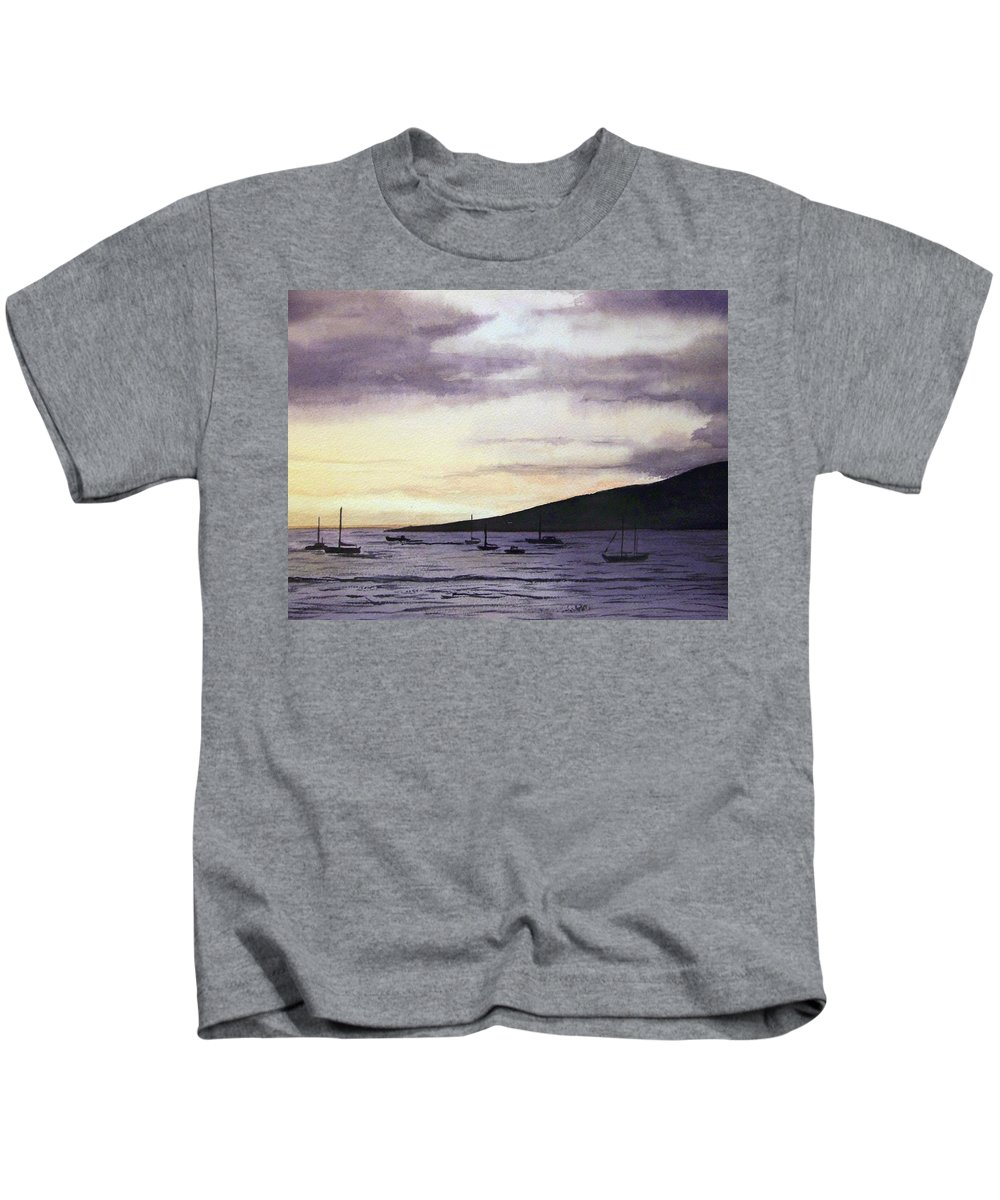 Seascape Kids T-Shirt featuring the painting No Safer Harbor Lahaina Hawaii by Brenda Owen