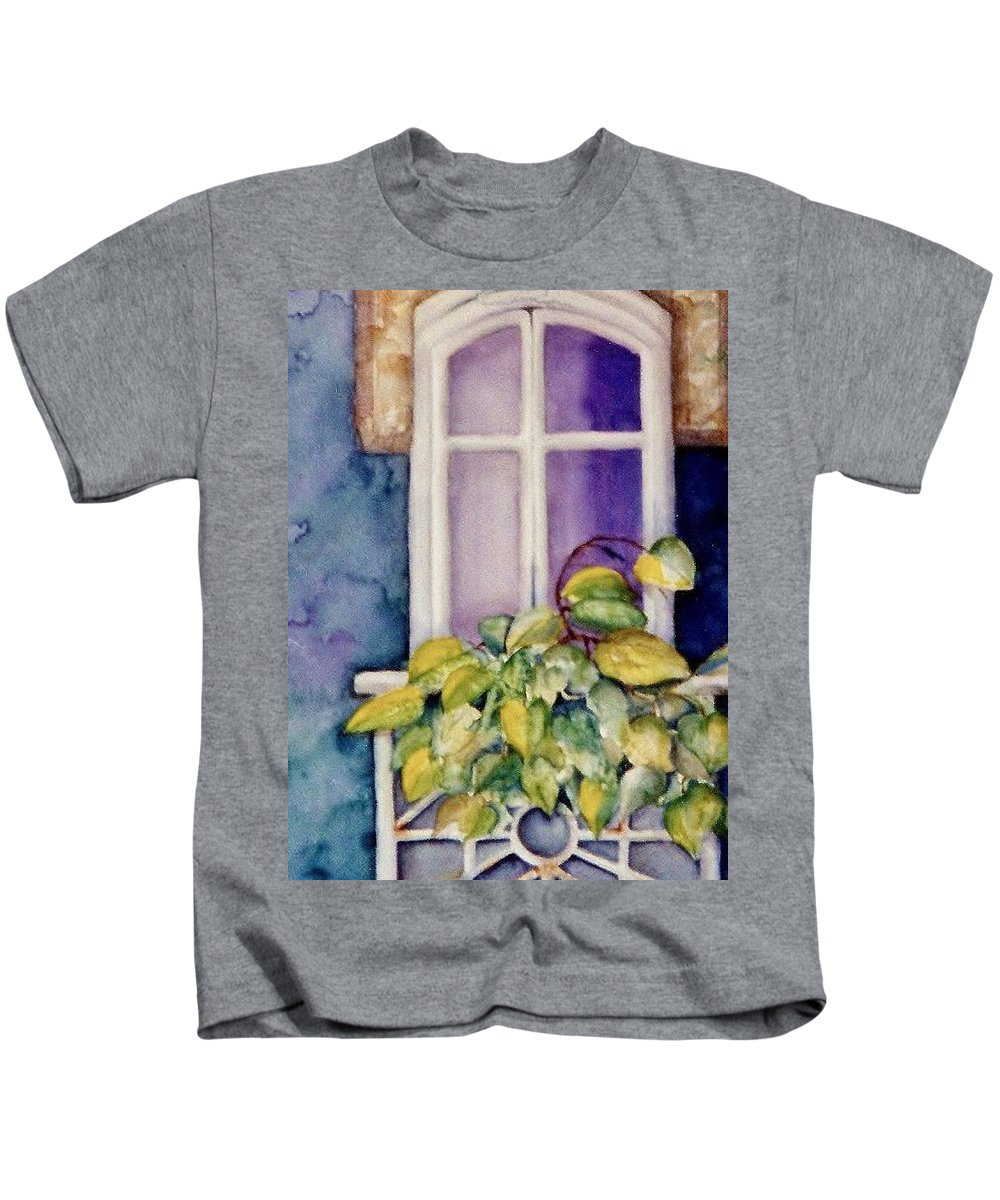 Window With Plants Kids T-Shirt featuring the painting Juliet Balcony by Patricia Susan Wells
