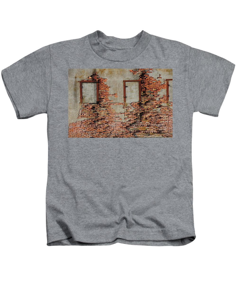 Brick Wall Kids T-Shirt featuring the photograph No Windows by David Arment