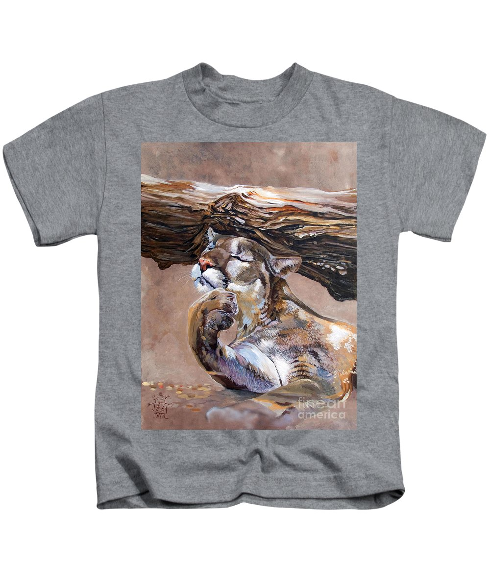 Catamount Kids T-Shirt featuring the painting Nonchalant by J W Baker