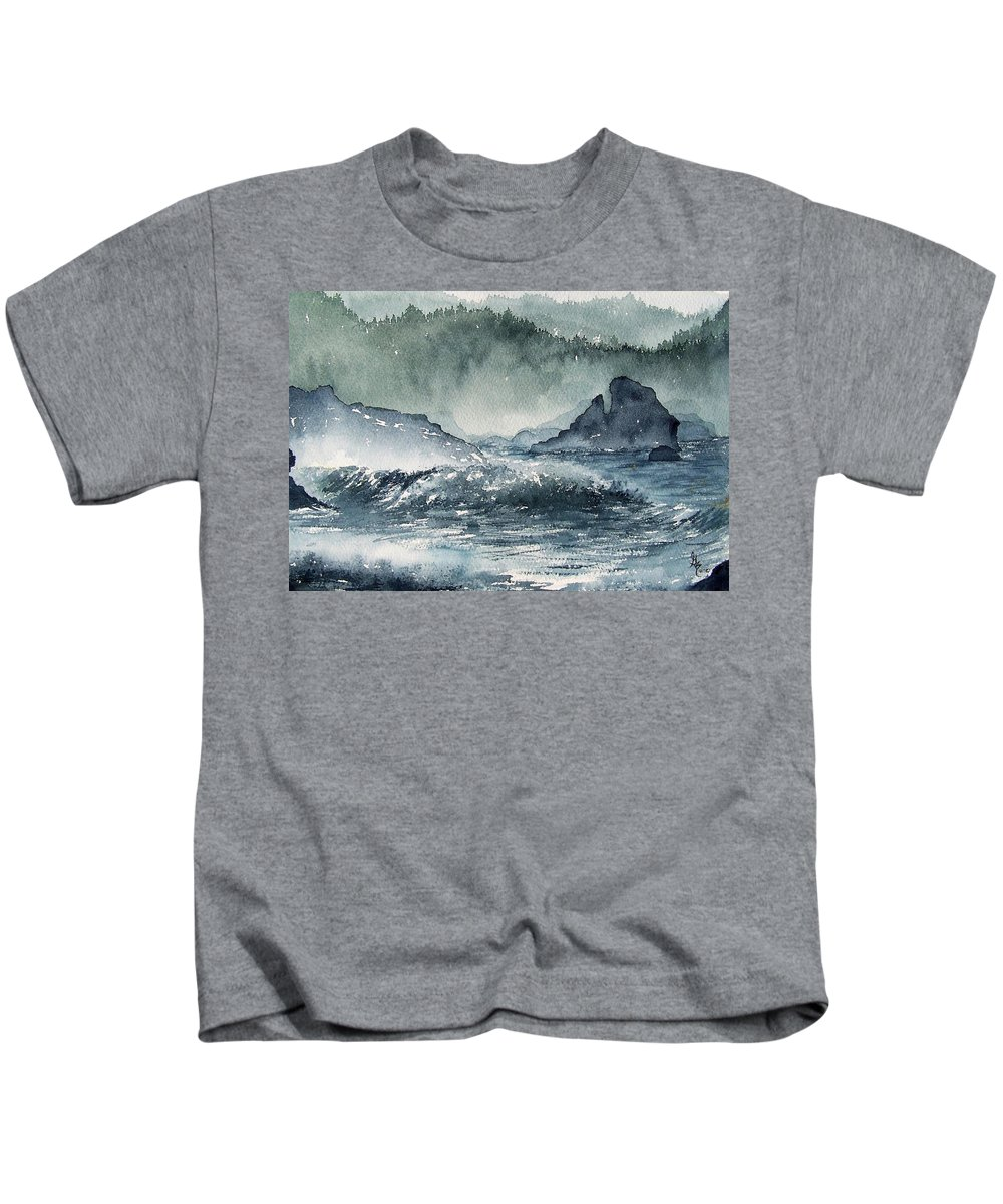 Ocean Kids T-Shirt featuring the painting Northern California Coast by Gale Cochran-Smith