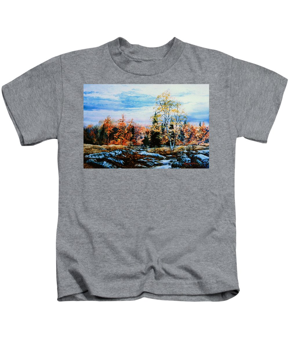 Northern Gold Painting Kids T-Shirt featuring the painting Northern Gold by Hanne Lore Koehler