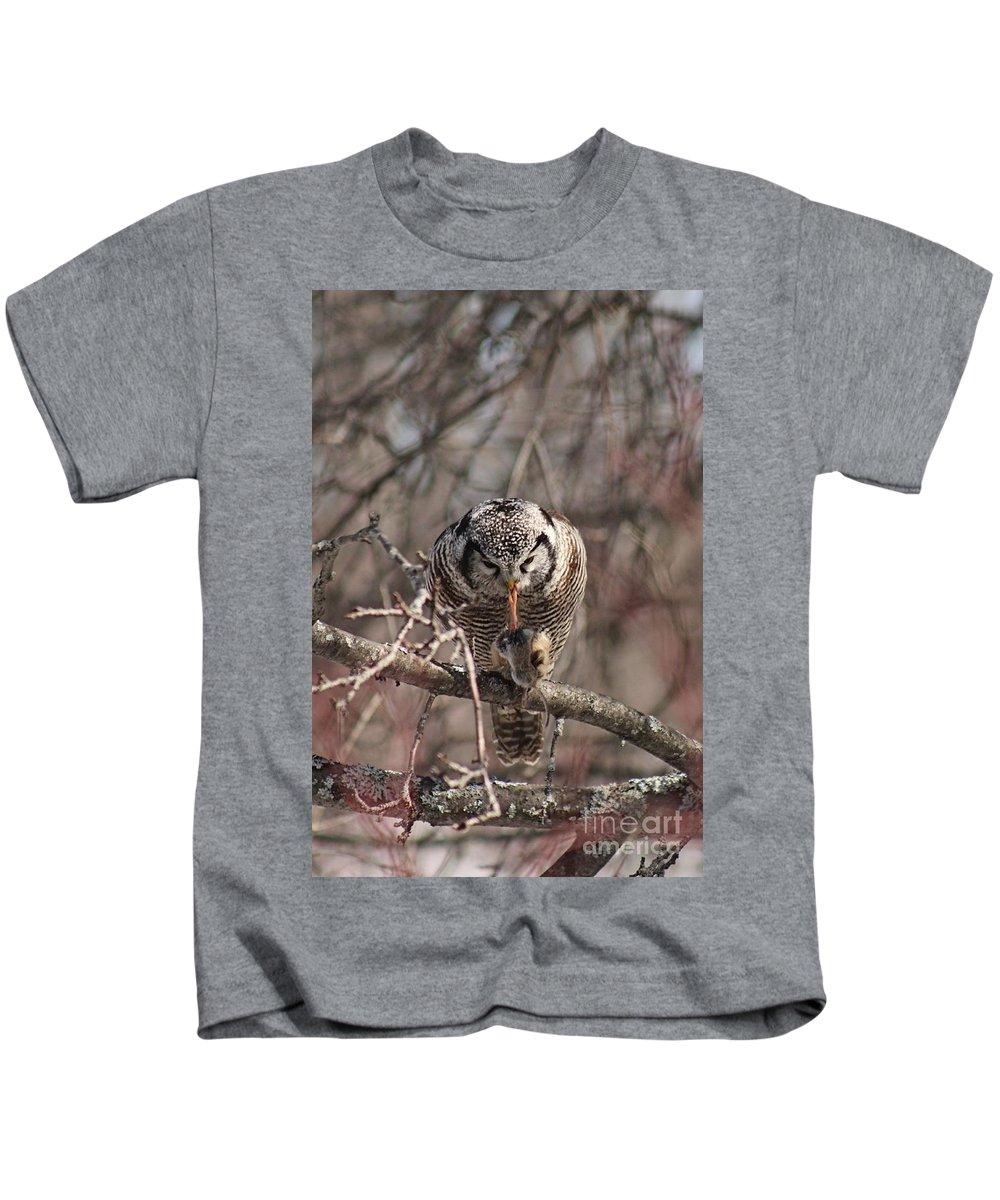Northern Hawk Owl Kids T-Shirt featuring the photograph Northern Hawk Owl Having Lunch 9416 by Joseph Marquis