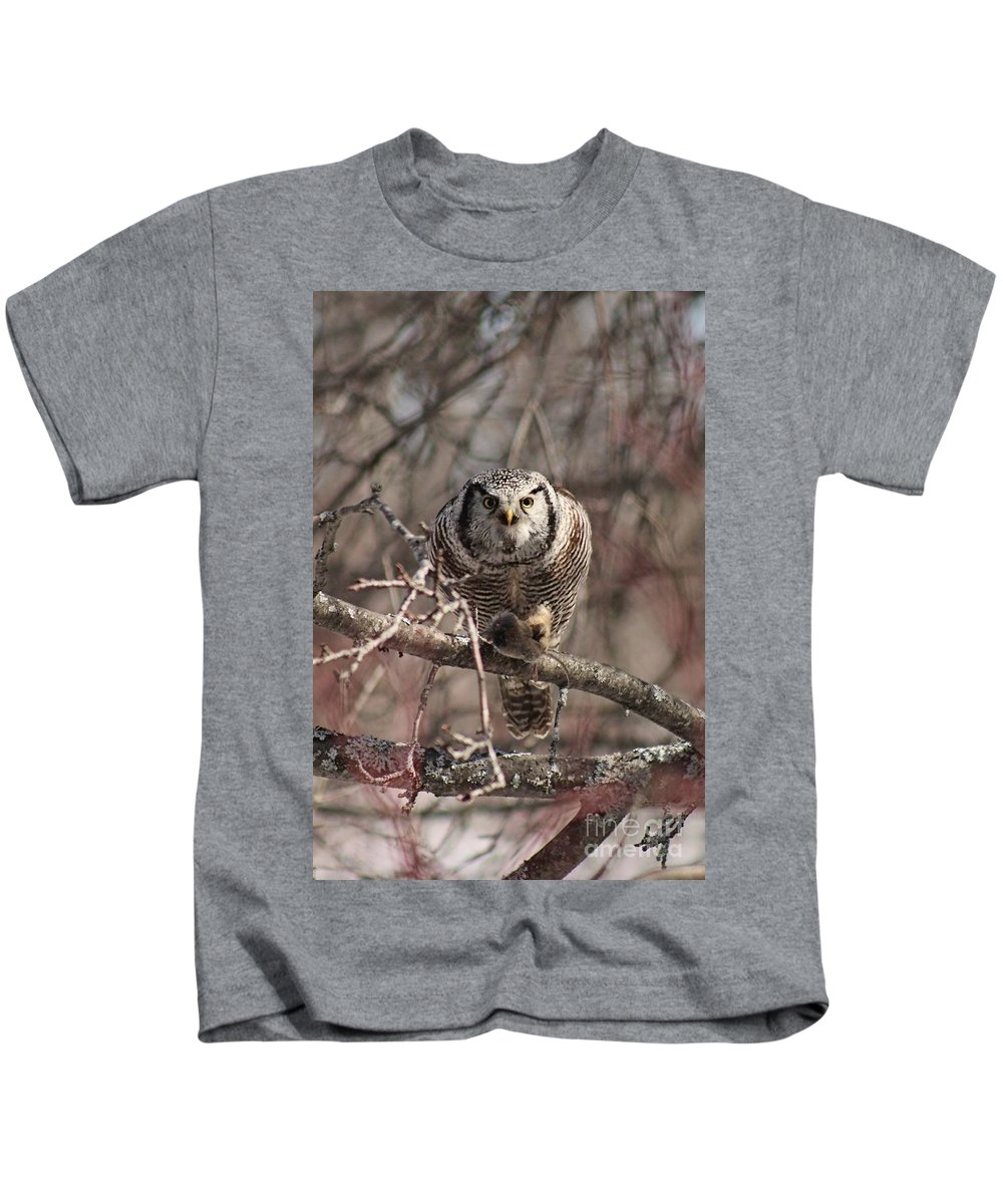 Northern Hawk Owl Kids T-Shirt featuring the photograph Northern Hawk Owl Having Lunch 9417 by Joseph Marquis