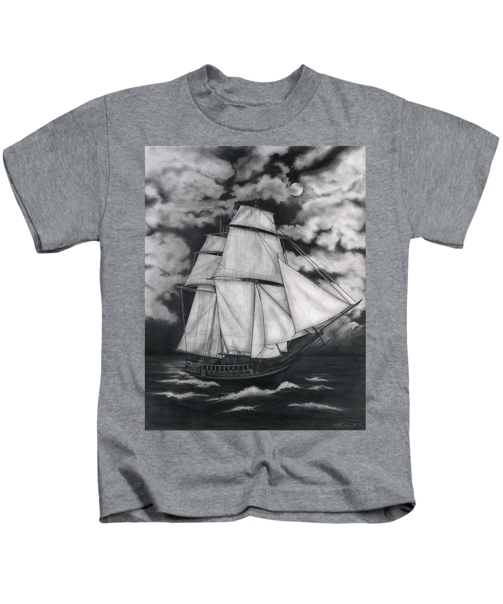 Ship Sailing Into The Northern Winds Kids T-Shirt featuring the drawing Northern Winds by Larry Lehman