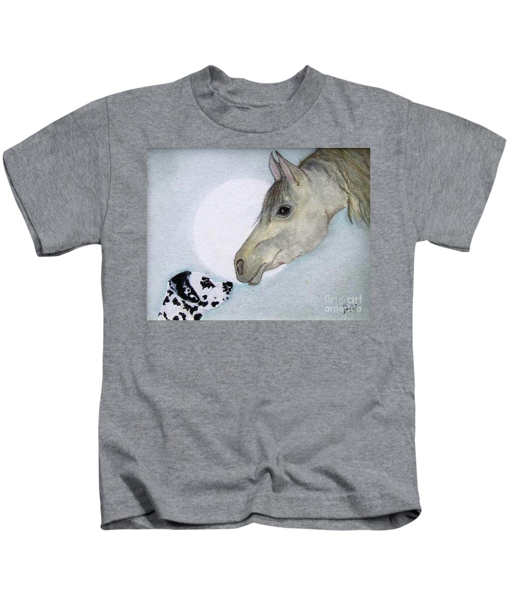 Dog Kids T-Shirt featuring the painting Nose 2 Nose by Jacki McGovern