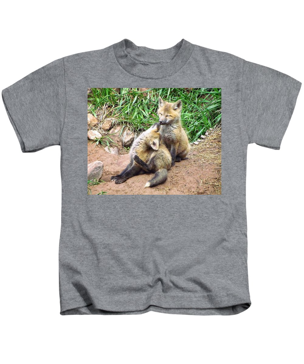 Red Fox Kids T-Shirt featuring the photograph Nose Kisses by LeAnne Perry