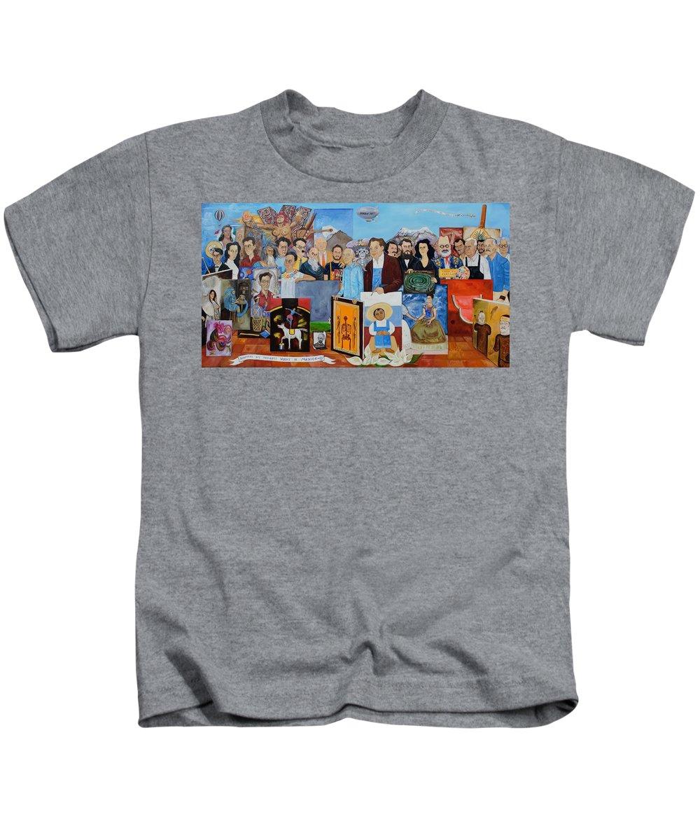 Mexico Kids T-Shirt featuring the painting Nosotros Los Hombres Verdes De Mexico by Juan Manuel Rocha Espinosa